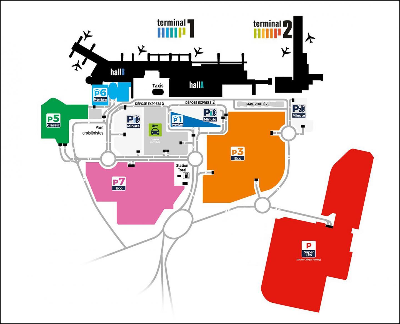 L'emplacement des parkings à l'aéroport Marseille - Provence.