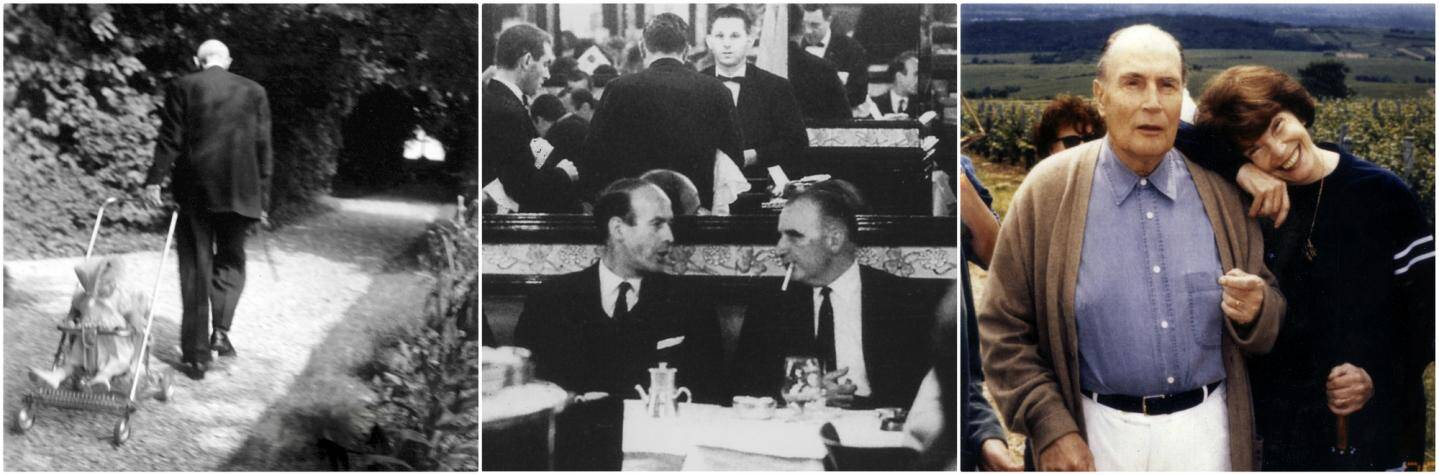 De gauche à droite: Charles De Gaulle promenant l'un de ses petits enfants à Colombey; Giscard d'Estaing encore ministre des Finances, déjeune avec Georges Pompidou; François et Danielle Mitterrand à Solutré.