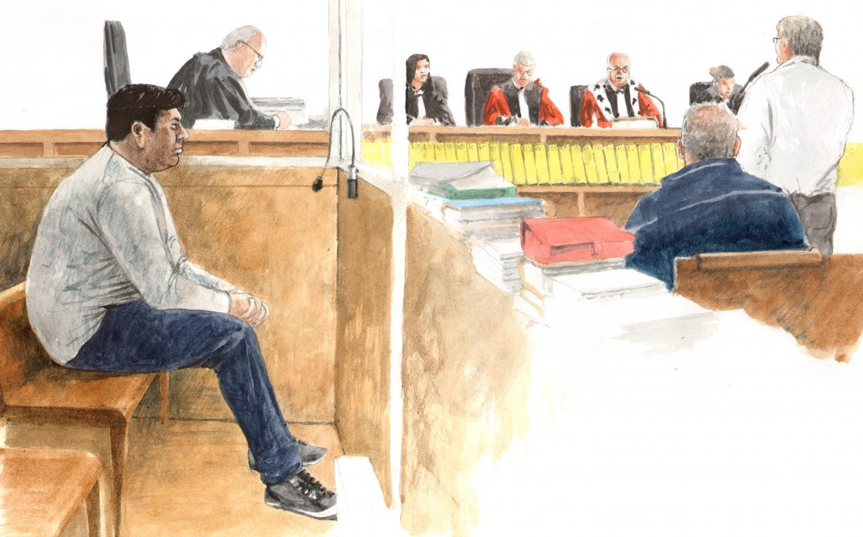 Ali Bouchareb (à gauche), déjà condamné pour trafic de stups, encourt la perpétuité.(Croquis Rémi Kerfridin)