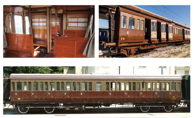 Les wagons sont composés de banquettes en bois centenaire.