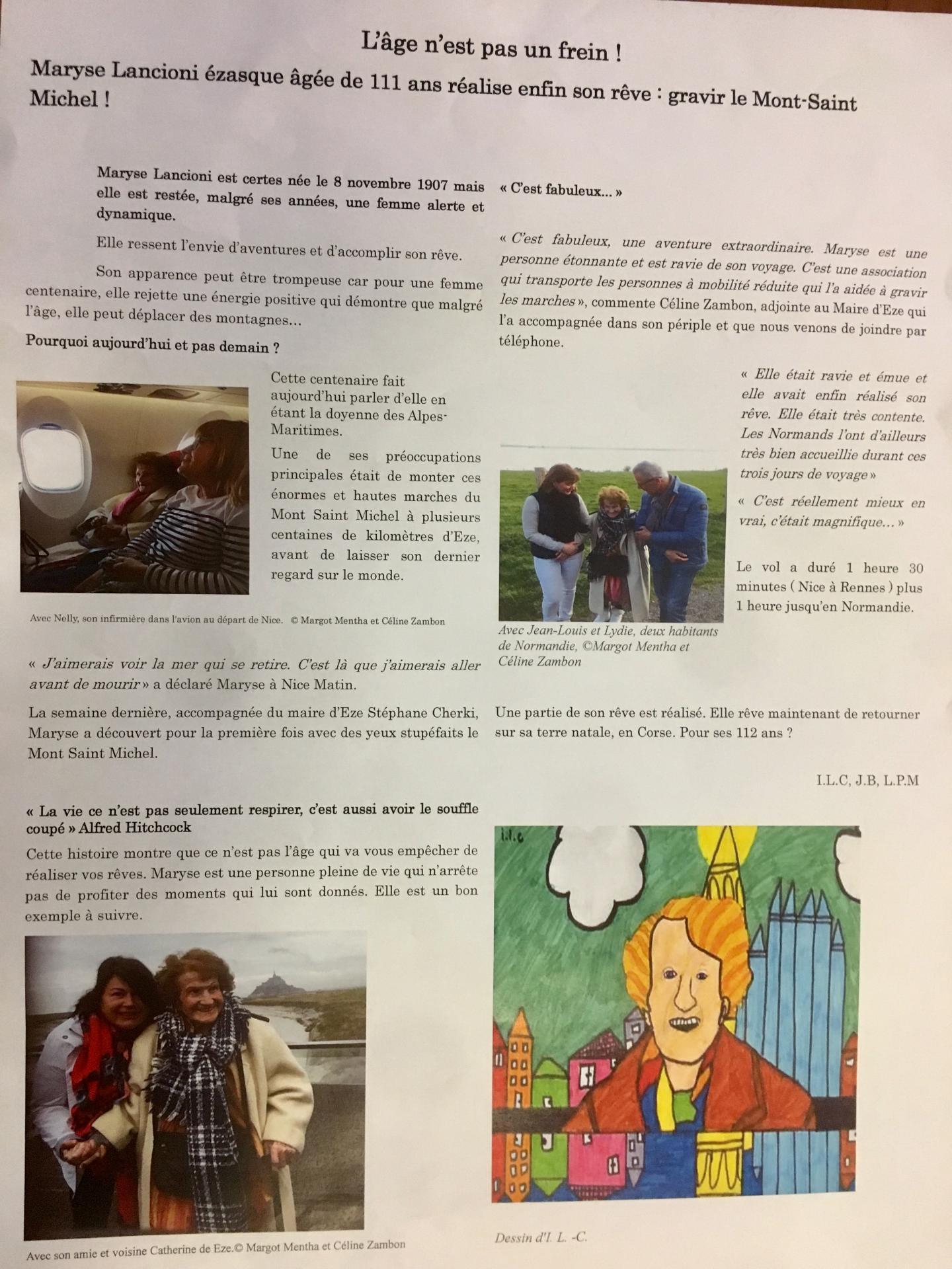 L'article réalisé par les élèves pour le concours Chasseurs d'Actu.