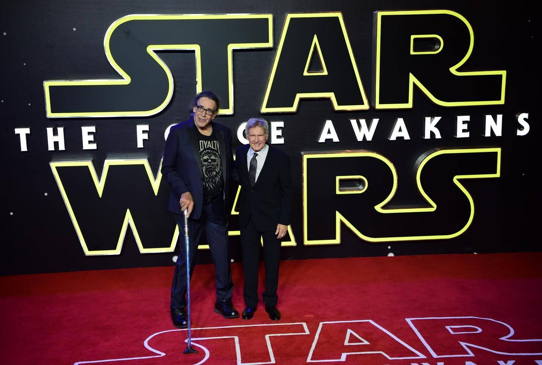 Peter Mayhew et Harrison Ford, lors de la première du Star Wars Le Réveil de la Force.