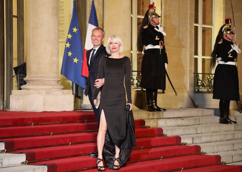 François de Rugy et son épouse, Séverine Servat, à l'Assemblée nationale, le 19 mars 2018 à Paris