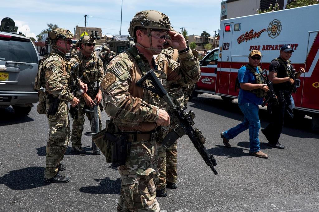 Des forces de l'ordre déployés à El Paso à la suite d'une fusillade, le 3 août 2019 dans cette ville du Texas
