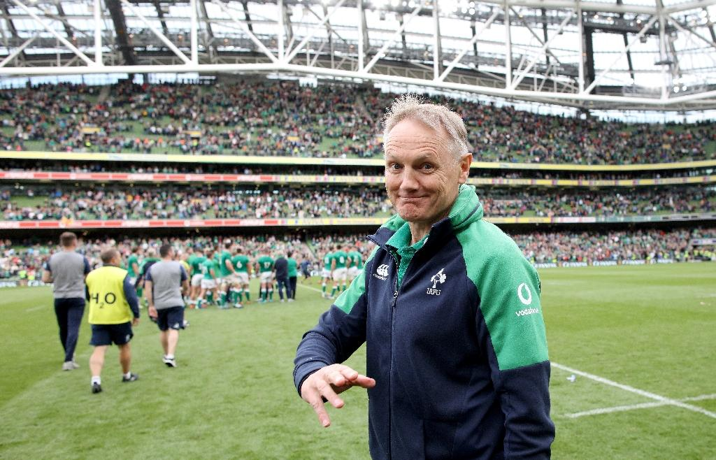 Le sélectionneur du XV d'Irlande Joe Schmidt avant le coup d'envoi du test-match contre le pays de Galles, le 7 septembre 2019 à Dublin