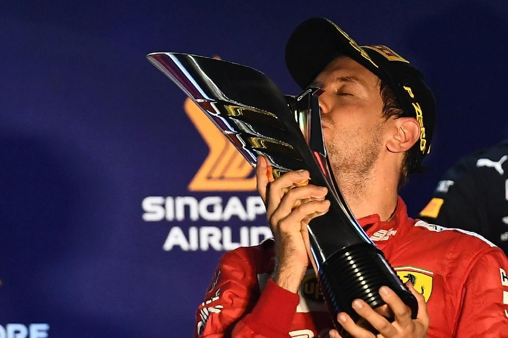 L'Allemand Sebastian Vettel vainqueur du GP de Singapour, le 22 septembre 2019