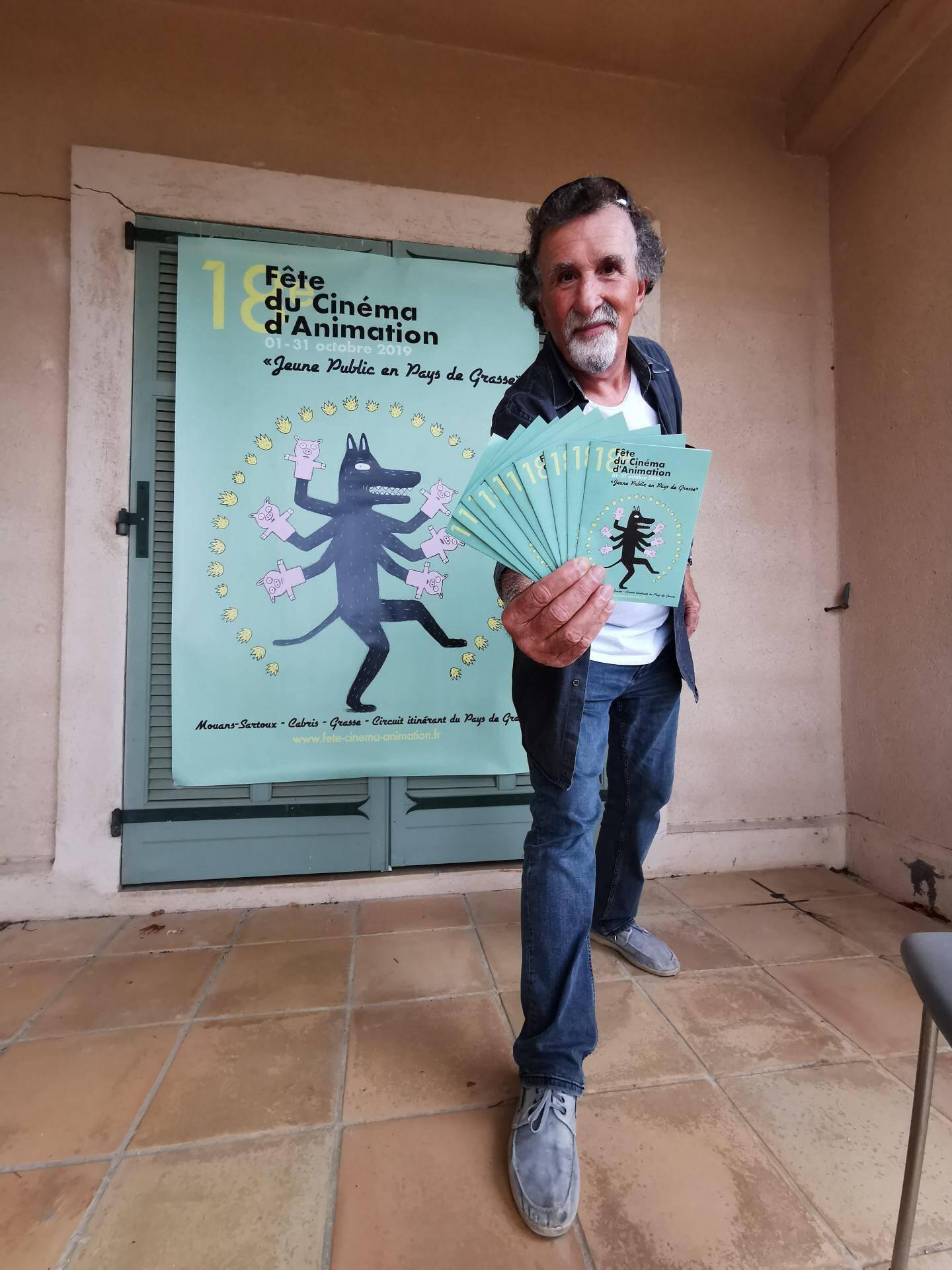 Jean Zémor, président du festival des Cabrioles (Cabris) coordonne cette Fête du film d'animation nationale déclinée à l'échelon du pays grassois pour la première fois.
