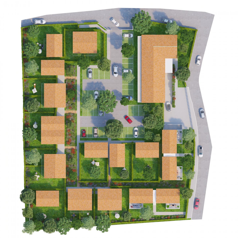 Le plan de masse avec la représentation des éléments bâtis et végétaux.