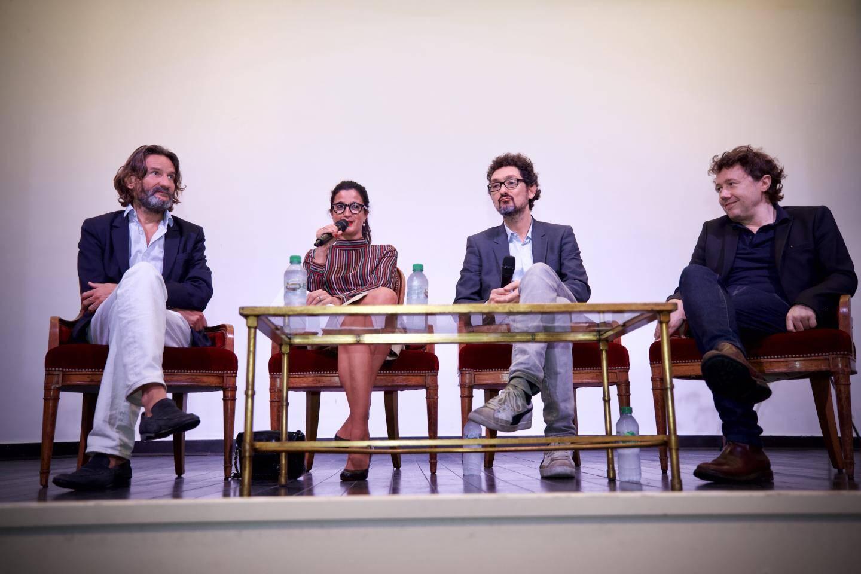 Autour de la journaliste Vanessa Schneider, Frédéric Beigbeder, David Foenkinos, romancier et réalisateur, et Ivan Calbérac, écrivain et réalisateur.