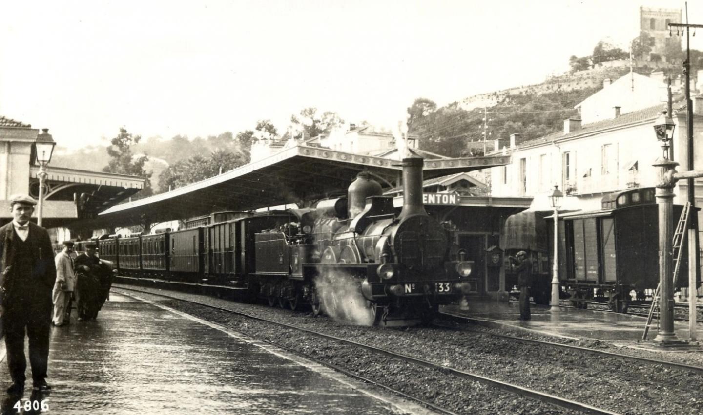 La gare de Menton en 1906.
