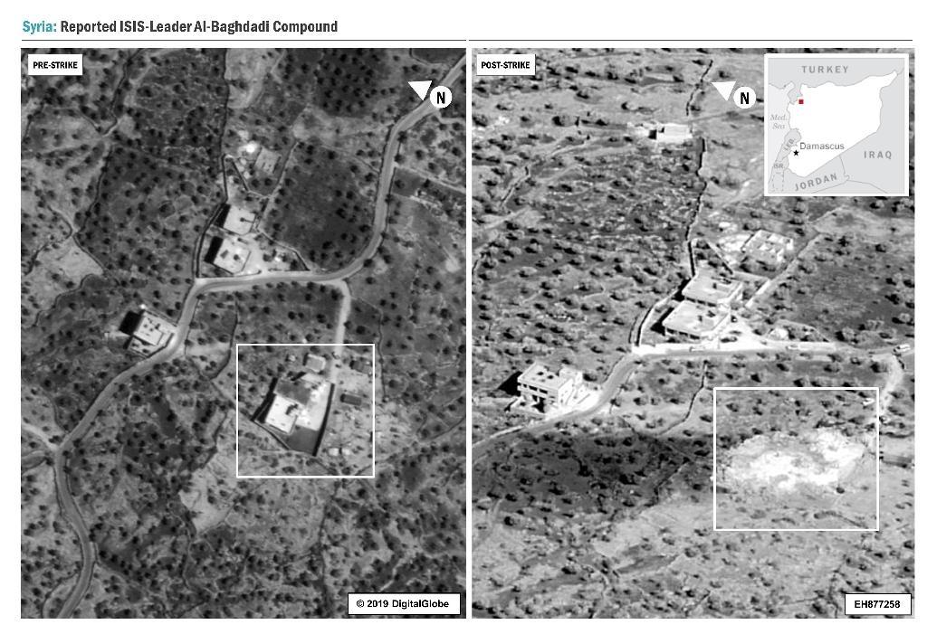 Cette image diffusée par le Pentagone montre le complexe en Syrie où se cachait Abou Bakr al-Baghdadi avant et après sa destruction par les forces américaines.