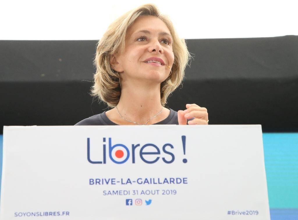 """La présidente de la région Ile-de-France, Valérie Pécresse, a lancé son mouvement """"Libres"""", à Brive, le 31 août 2019"""