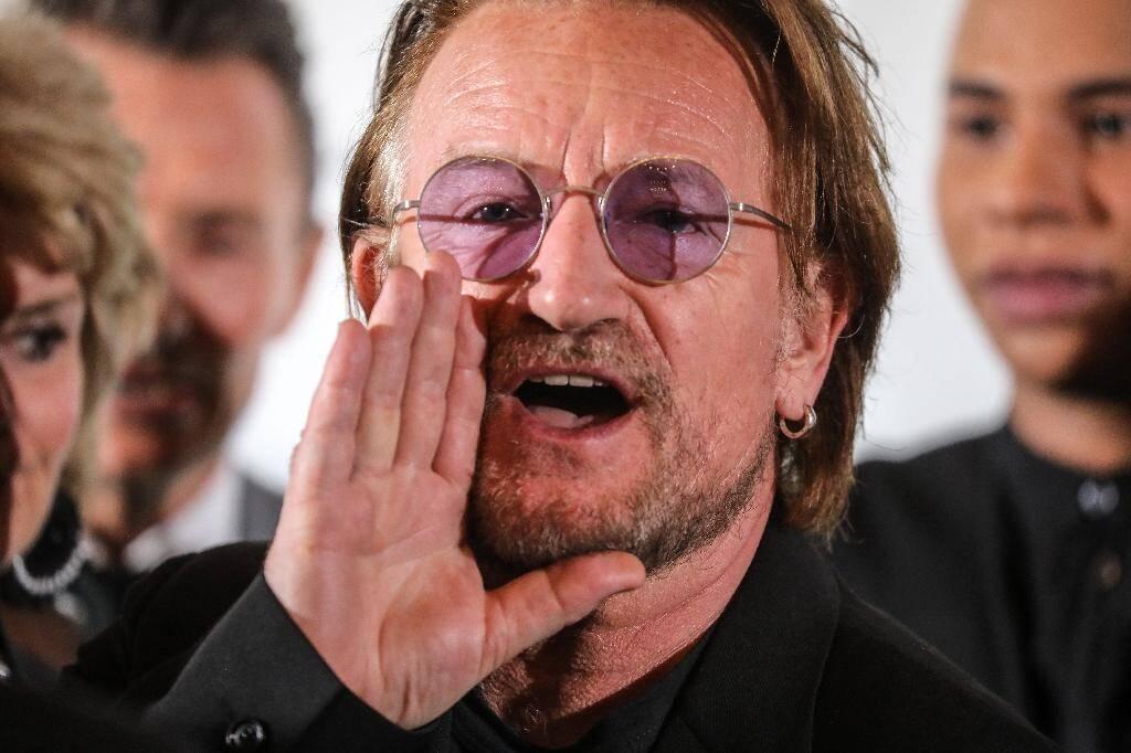 Le chanteur Bono à la réunion du Fonds mondial de lutte contre les maladies infectieuses, le 9 octobre 2019 à Lyon.
