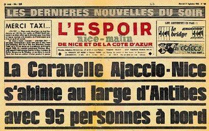La Une de L'Espoir Nice-Matin sur le crash de la caravelle Ajaccio - Nice.