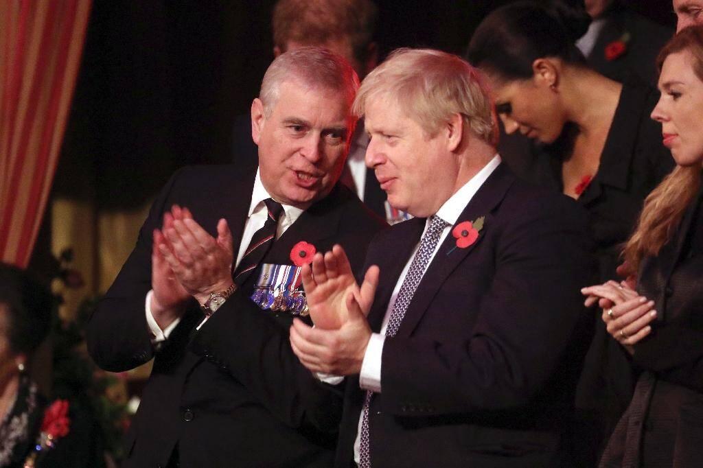 Le prince Andrew et le Premier ministre britannique Boris Johnson à Londres le 9 novembre 2019