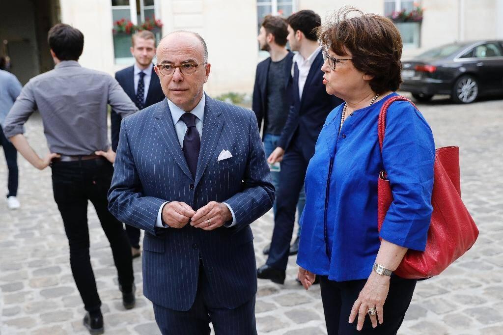 Martine Aubry en compagnie de Bernard Cazeneuve, à Paris le 17 juillet 2019