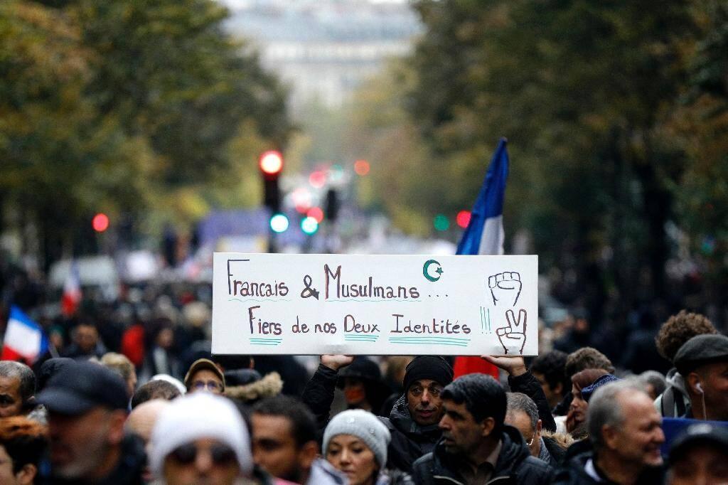 Des manifestants lors de la marche contre l'islamophobie à Paris, le 10 novembre 2019
