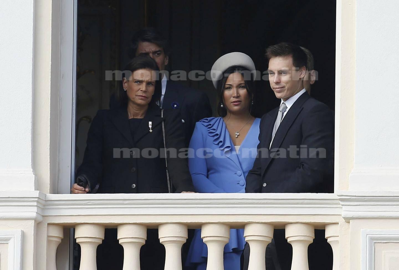 La princesse Stéphanie, accompagnée cette année par son fils Louis Ducruet et son épouse, Marie.