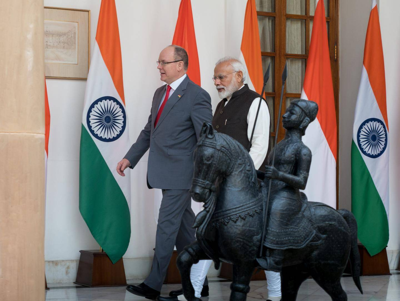 Le prince Albert II lors de sa visite en Inde.