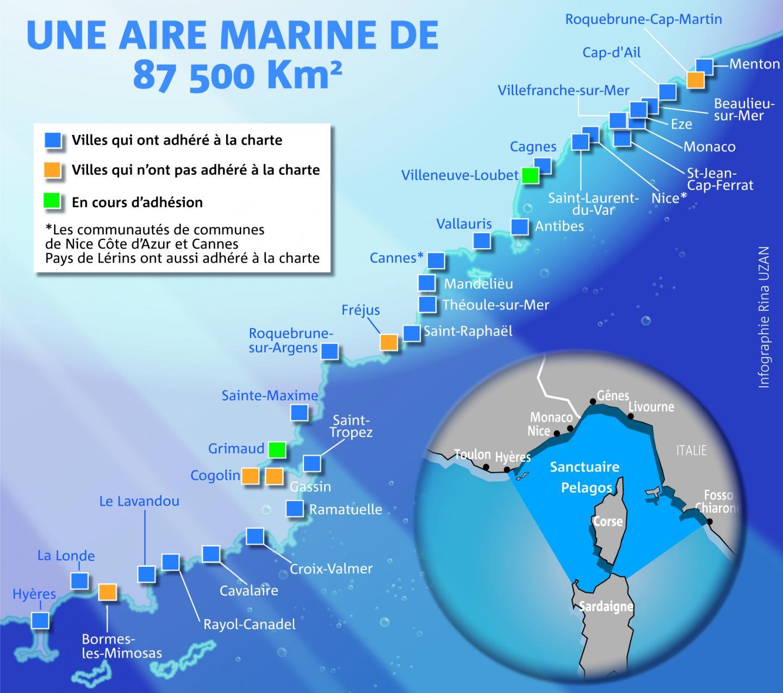 L'Accord regroupe 147 communes adhérentes: 42 en France (dont 14 en Corse) et 105 en Italie, plus la Principauté de Monaco.