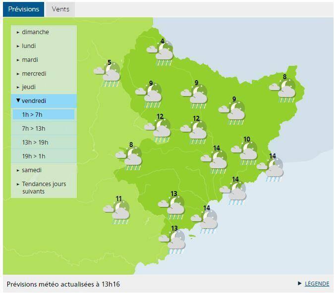 Prévisions Météo France actualisées à 13h16 ce dimanche