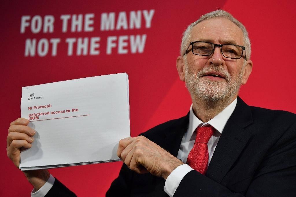 Le chef du parti travailliste britannique, Jeremy Corbyn, lors d'une conférence de presse, le 6 décembre 2019 à Londres