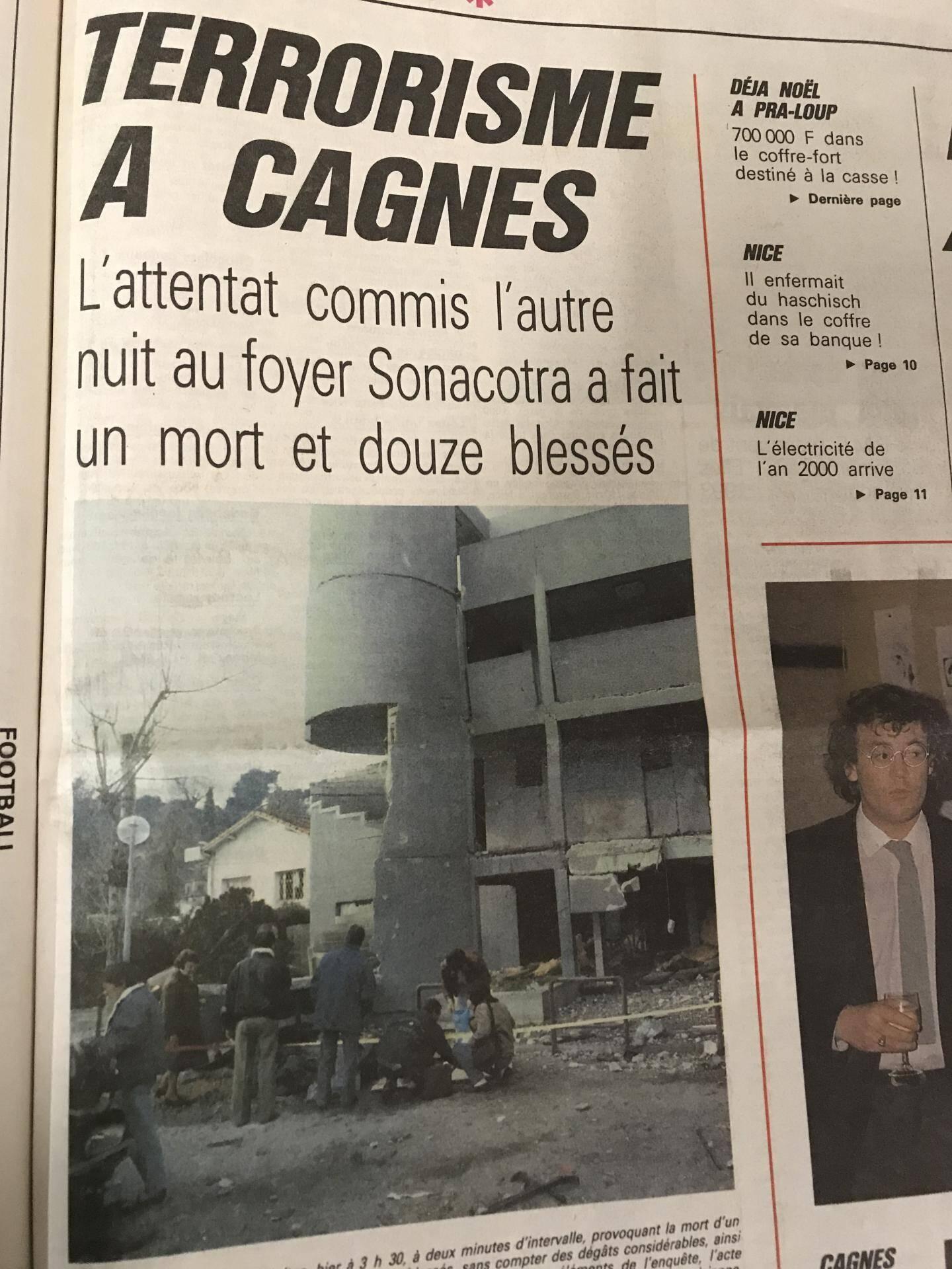 L'attentat de Cagnes-sur-Mer avait fait un mort – un ouvrier roumain de 48 ans – et une douzaine de blessés parmi les résidents du foyer Sonacotra.