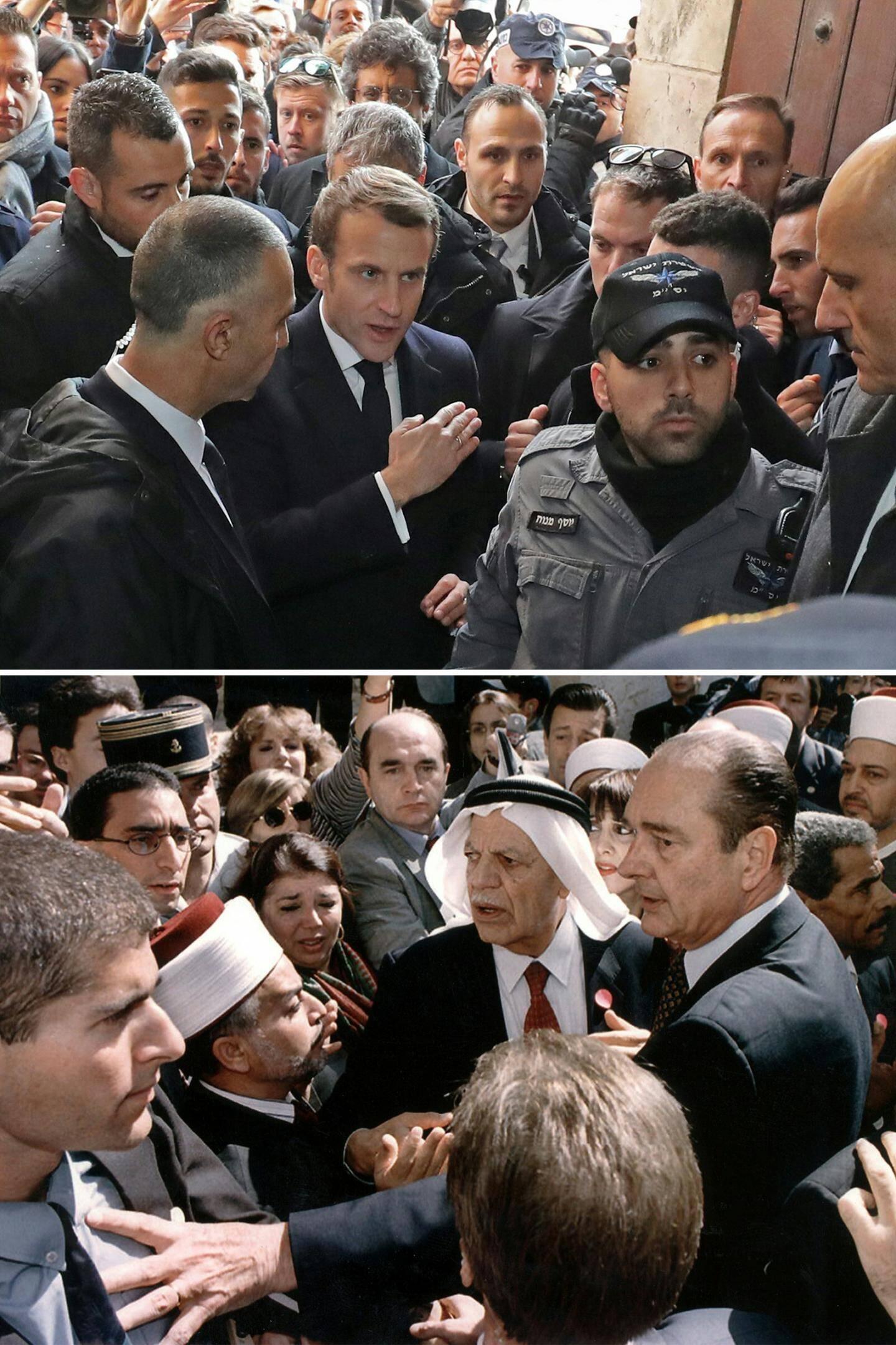 Le président français Emmanuel Macron a demandé avec insistance mercredi à des policiers israéliens de bien vouloir le laisser entrer dans l'église Sainte-Anne de Jérusalem, dans une scène rappelant un incident qui avait impliqué Jacques Chirac dans les années 1990