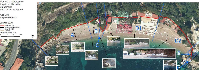 En dessous de la ligne rouge, le domaine public maritime, d'après la préfecture des Alpes-Maritimes. (Document tiré de l'enquête publique réalisée par la Préfecture)
