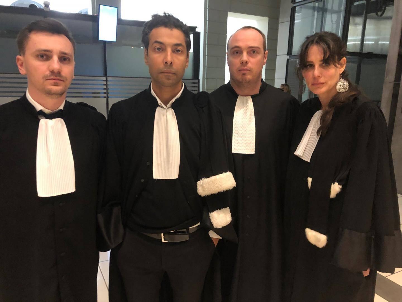 Me Carles, Me Selmi, Me Delobel et Me Marangoni, avocats de la défense.