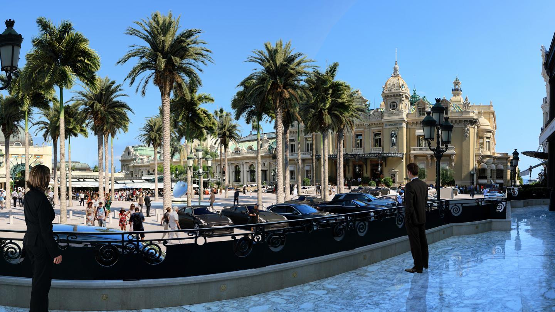 Depuis la Salle Empire, la place du Casino aura, au printemps, des faux airs de palmeraie.