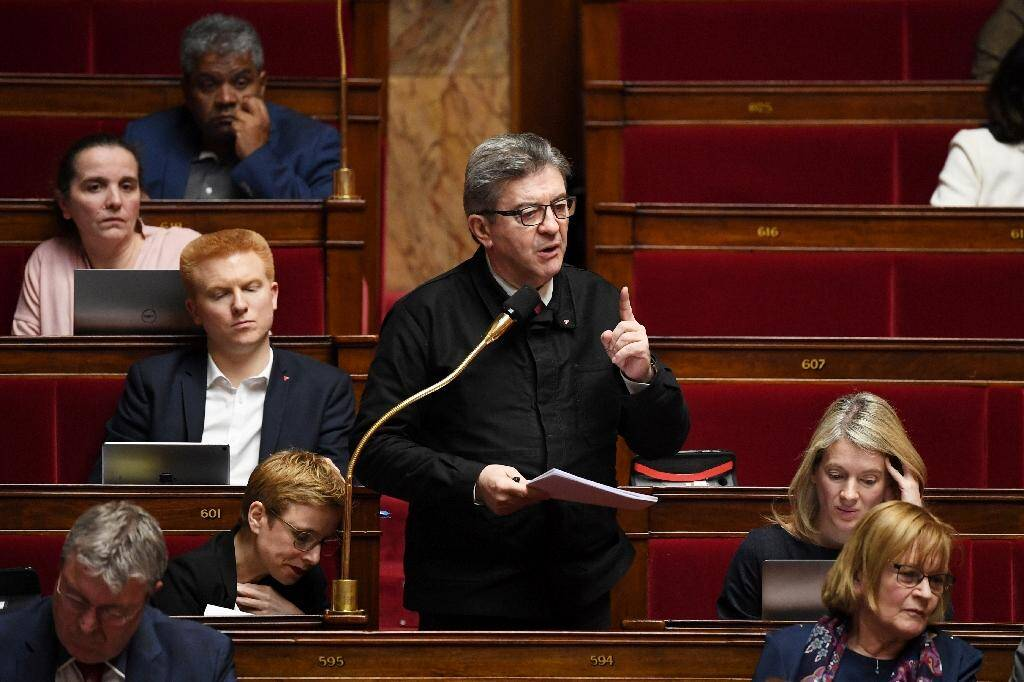 Le chef de file des insoumis Jean-Luc Mélenchon à l'Assemblée nationale, le 19 février 2020 à Paris