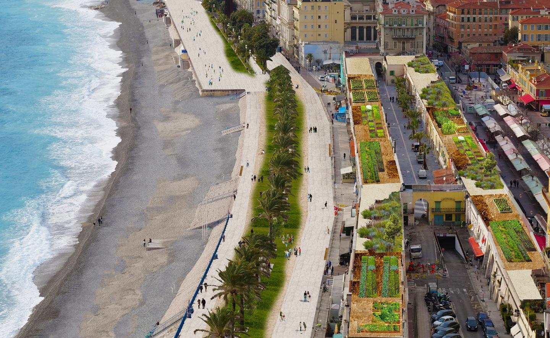 La piétonnisation voulue par les Verts et leur maison de la mer. (Images de synthèse Nice écologique)