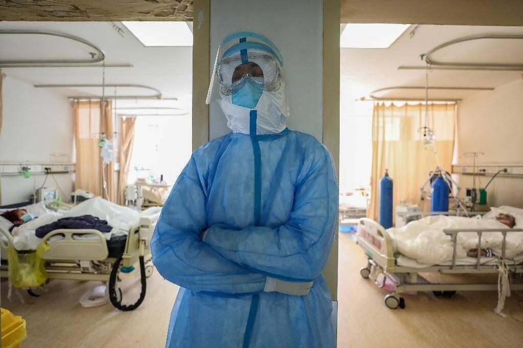 A l'hôpital de la Croix Rouge à Wuhan, en Chine, le 16 février 2020.