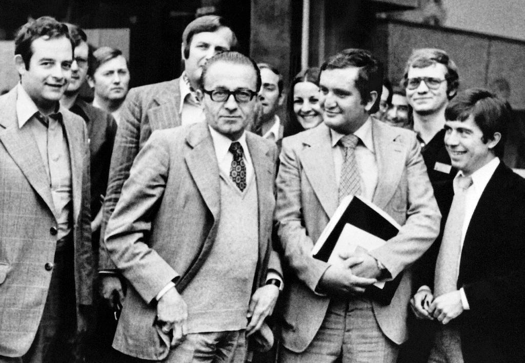 Christian Bonnet au centre avec à droite Jean-Pierre Raffarin à Nancy en août 1977