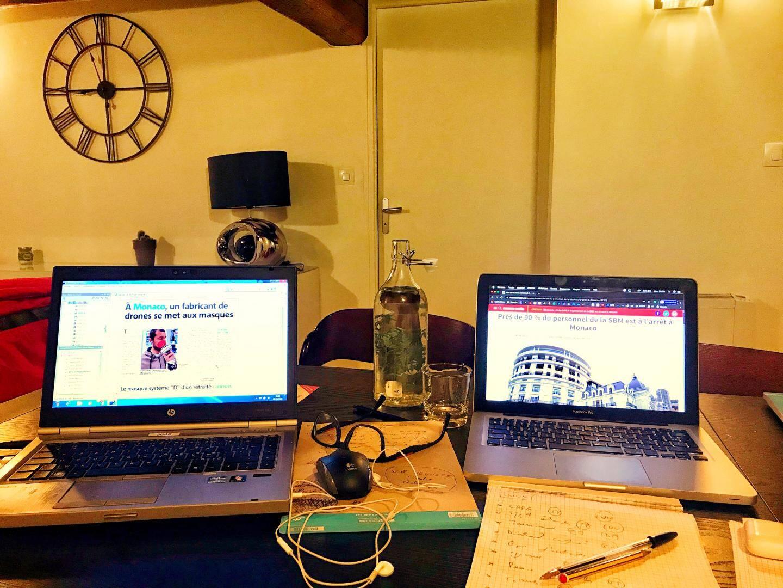 Le bureau à la maison, les outils de travail, la solitude au bout du téléphone et de la connexion internet.