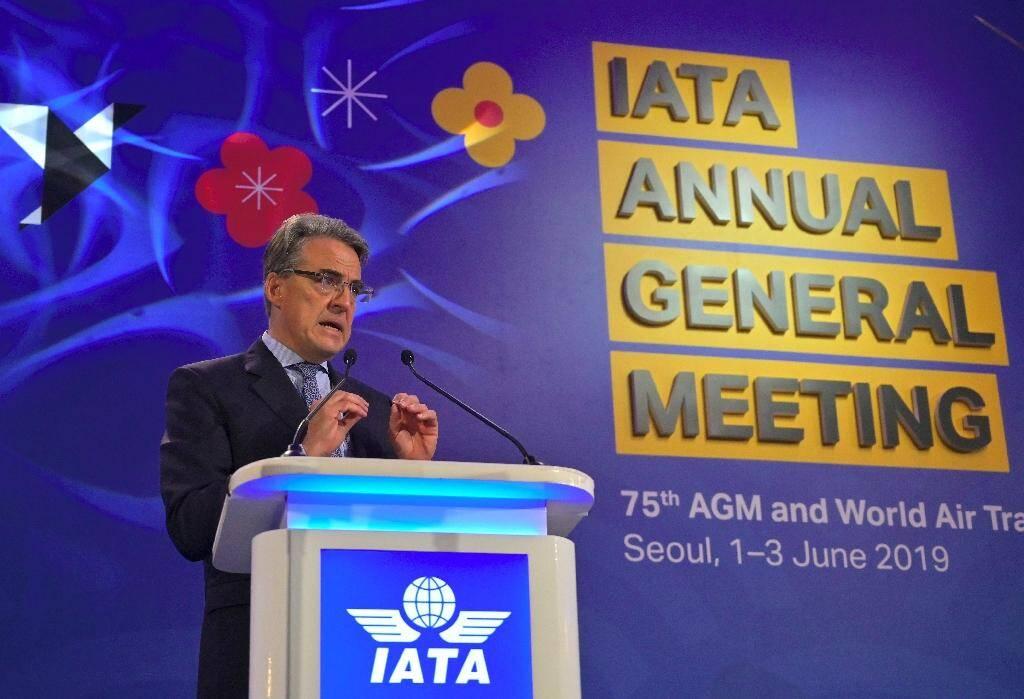 Alexandre de Juniac, directeur général de l'Iata, lors de l'assemblée générale annuelle en juin 2019 à Séoul, en Corée du Sud