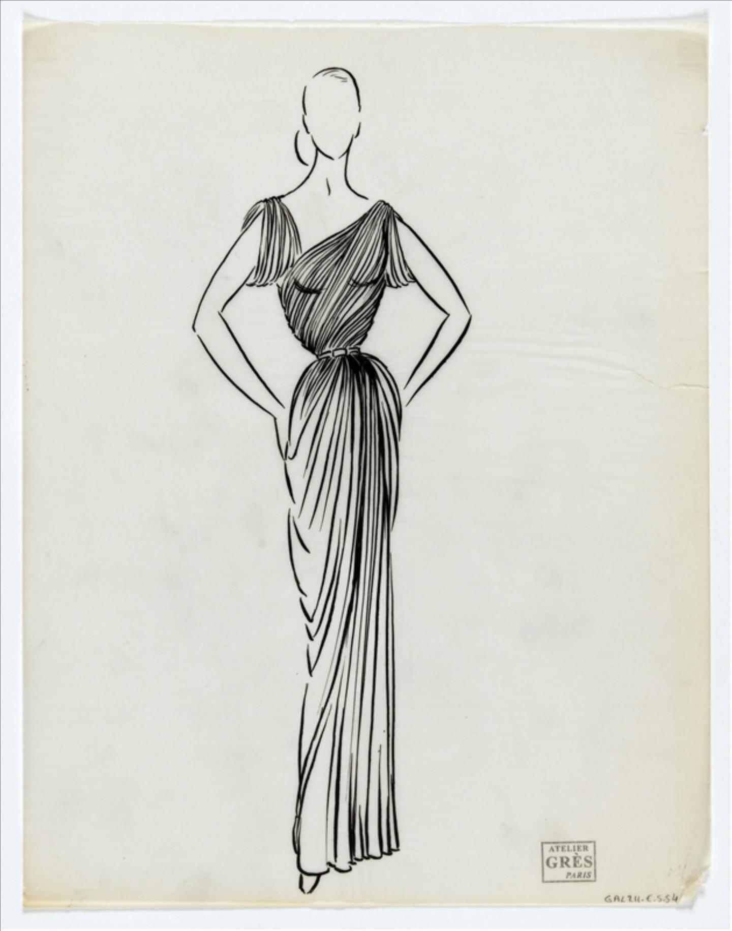 Dessin d'une robe du soir plissée. Encre de Chine sur calque, printemps-été 1950. Maison Grès