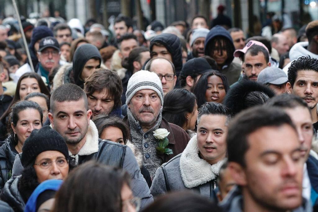 Rassemblement de soutien à la famille Chouviat, le 12 janvier 2020 à Levallois-Perret, près de Paris