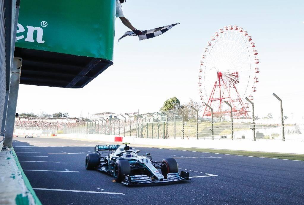 Le Finlandais Valtteri Bottas, lors de sa victoire au GP du Japon à Suzuka, le 13 octobre 2019