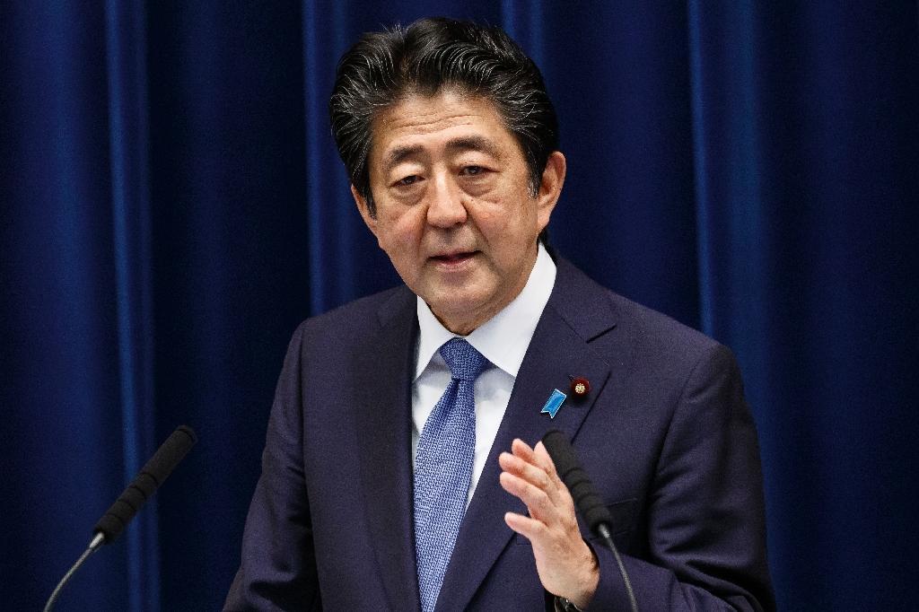 Le premier ministre japonais Shinzo Abe lors d'une conférence de presse à Tokyo le 18 juin 2020.