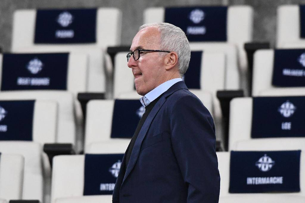Frank McCourt, propriétaire de l'Olympique de Marseille, au Stade Vélodrome le 10 mars 2019