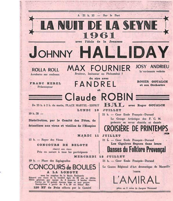 Des fêtes marquées par le passage de Johnny en 1961.