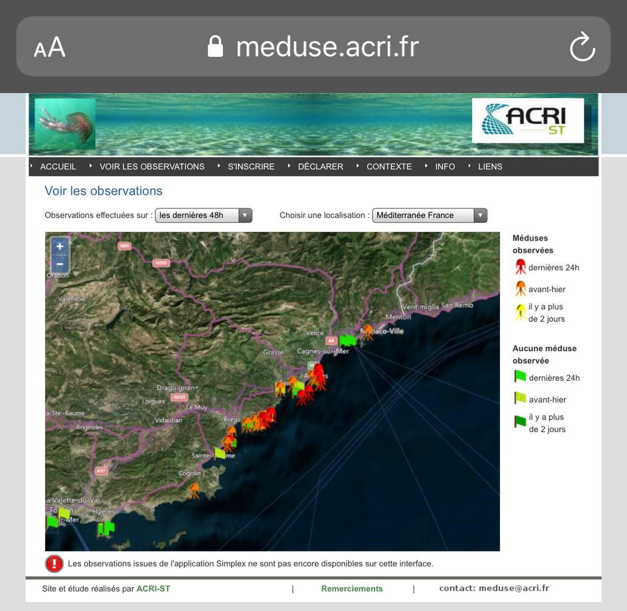 Des méduses de différentes couleurs indiquent si des spécimens ont été observés dans les jours précédents.(Capture d'écran du site meduse.acri.fr)