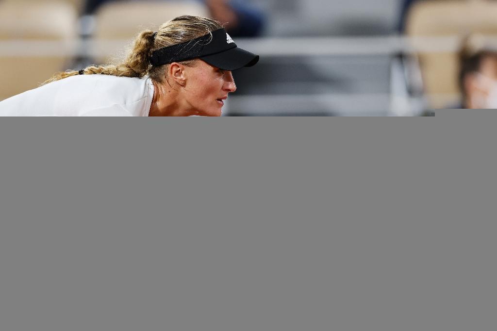 Kristina Mladenovic face à Laura Siegemund à Roland-Garros, le 29 septembre 2020