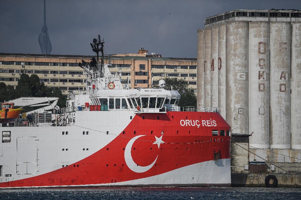 Le navire turc Oruç Reis dans le port d'Istanbul, le 23 août 2019