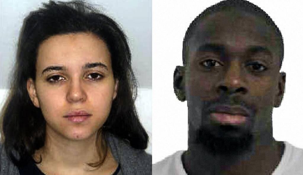Montage photos diffusé par la police le 9 janvier 2015 d'Amédy Coulibaly et de sa compagne Hayat Boumedienne