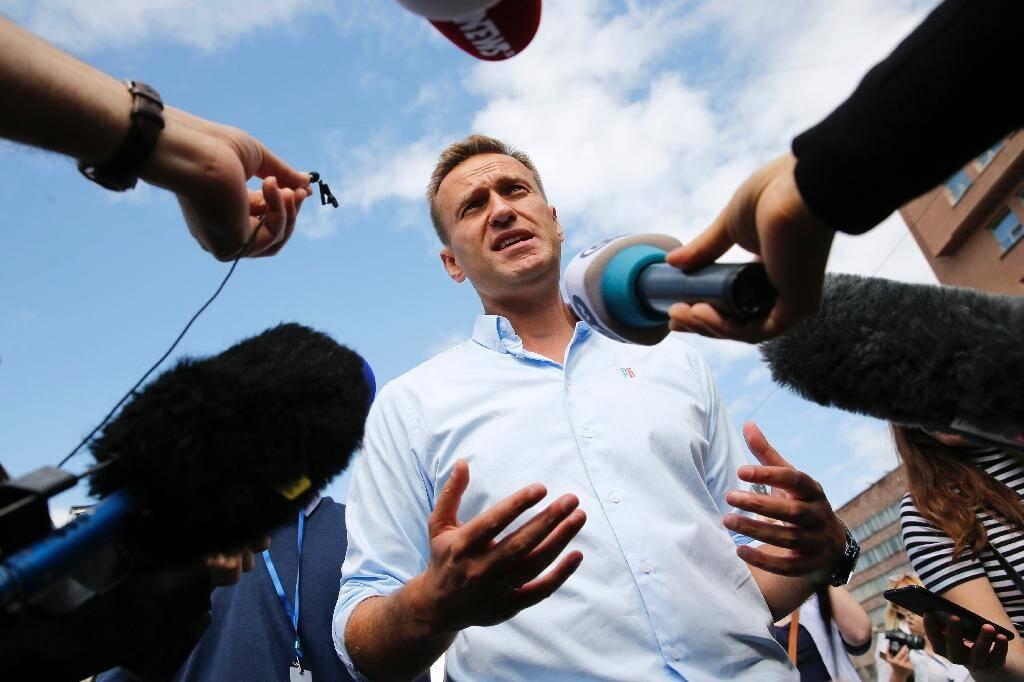 L'opposant russe Alexeï Navalny lors d'une manifestation à Moscou le 20 juillet 2019