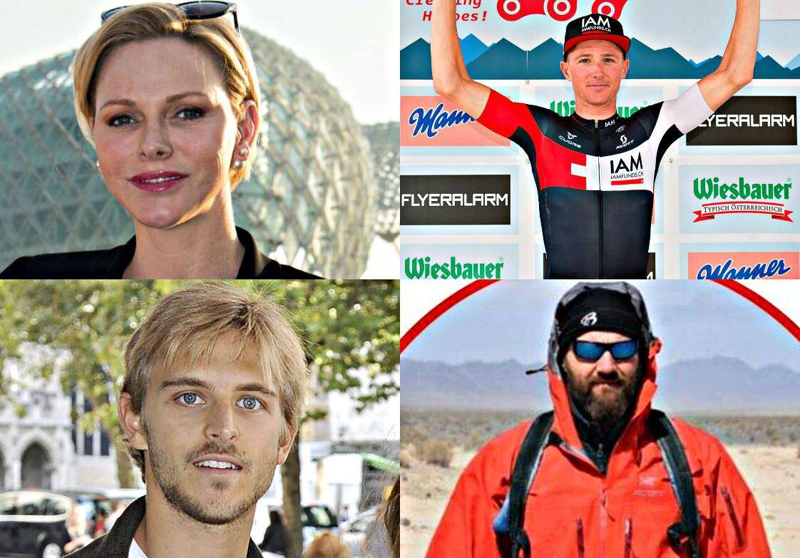 De gauche à droite et de haut en bas: la princesse Charlène, ancienne championne de natation; David Tanner, coureur cycliste australien; Brandon Green, le fils de Tina Green; Mathew Bennett, recordman du monde de la traversée de l'Atlantique à la rame la plus rapide.