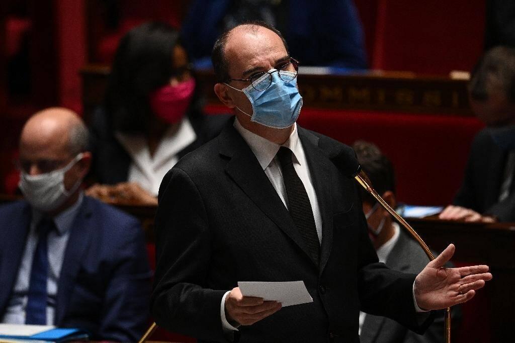 Le Premier ministre Jean Castex lors d'un discours d'hommage au professeur décapité à l'Assemblée nationale, le 20 octobre 2020
